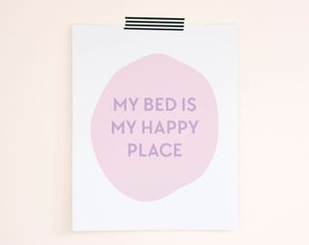 Happy Place Print. Bedroom Decor. Stocking Stuffer. Holiday Gift. Christmas Gift for Sister. Best Friend Gift. Gift for Her. Gift Under 20