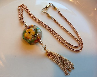 SALE 18k Gold Necklace Copper Antique Watch Fob Chain Lampwork Focal Stone