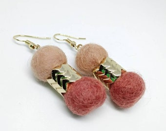 Color block felt ball earrings