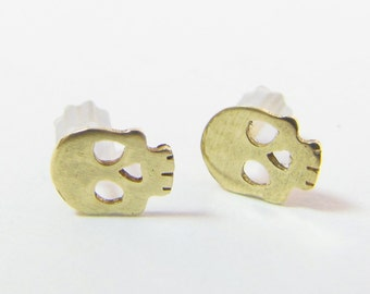 Brass Skull Stud Earrings