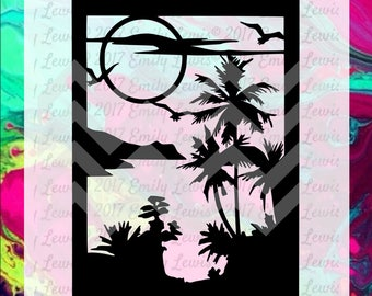 beach svg - beach svgs - beach cut files - beach svg file - beach svg files - beach svg cuts - cricut files - silhouette - palm tree svgs