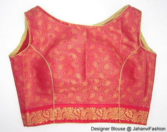 Readymade cotton saree blouse boat neck blouse with self embroidery, All Sizes, Sari Blouse - Sari Top For Women - crop top