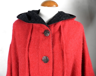Red Hooded Loden Wool and Alpaca Cape Cloak   Size M - L