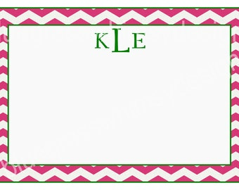 Monogrammed Notecards- Pink and Green Chevron