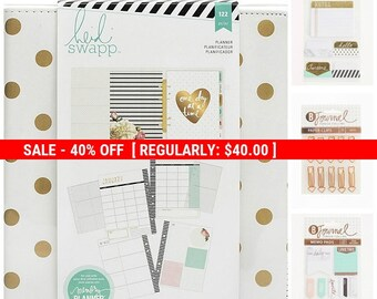 Large Memory Planner PLUS, Heidi Swapp White with Gold Foil Dots, Arrow Paper Clips, Foil Accent Memo Pads, 12 Month Planner Kit