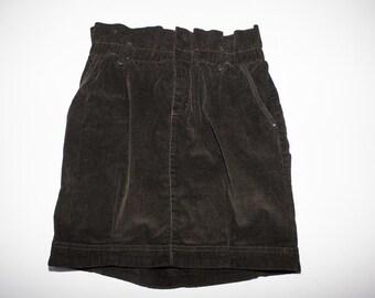 Dark brown velvet high waist skirt