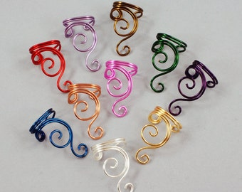Ear Cuff - Double Spiral - Gold, Silver, Copper, Brass, Red, Magenta, Purple or Green