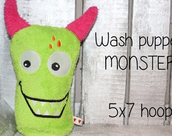 WAS-005 - 5x7 hoop - Wash Puppet - MONSTER - ITH - In The Hoop - Machine Embroidery Design File, digital download