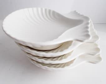 Vintage Shell Bowls Set of 4 Coastal Beach White Glazed Pottery Bowls