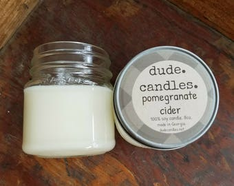 pomegranate cider candle. 8oz soy candle. dude candle. man candle. mason jar candle. pomegranate candle. unique fall candle.