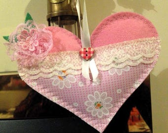 Pink Shabby Chic Hanging Decorative Heart.