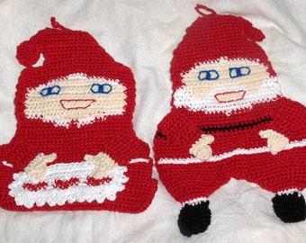Crochet pot holder, christmas pot holders, crochet christmas potholders, santa potholders, kithcen decor, weihnachten, topflappen geheklet