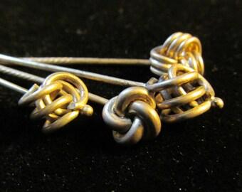 4 Vintage French Knot Sterling Silver Sticks Pin AF 63