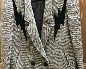 Vintage Grey New Season Jacket Blazer with Black Lightning Bolts Cropped size 9
