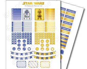 Star Wars Printable Planner Sticker Set, Erin Condren Life Planner, Instant Download