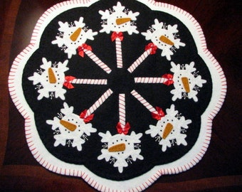 "Hand Stitched 17"" Diameter FROSTY POPS Candle Mat - Penny rug - Wool Applique - Wool Fiber Art - Home Decor - Primitive - Folk Art - Wool"
