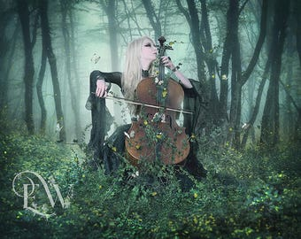 cello player art, cello player print, fantasy woman art, fantasy print, fantasy forest, surreal art print, woman and instrument, fantasy art