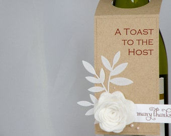 Craft Wine Bottle Tag with Felt Flower Toast to the Host