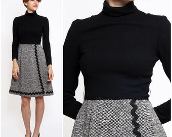 Vintage 1960s Black & Gray Wool Turtleneck Dress with Oversized Rick Rack Detail by Jim Church | XS