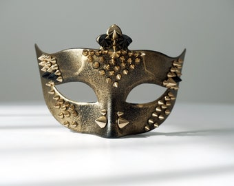 Gold and black spike mask