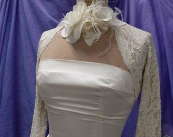 Lace Shrug Bolero, Wedding Cover Up, Nude Lining, Stretch Lace Shrug, in Black, White or Ivory, 3/4 sleeves