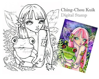 Groene kikker Elf - digitale stempel Instant Download / Fantasy Art door Ching-Chou Kuik