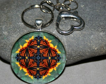 Monarch Butterfly Purse Charm Bag Charm Keychain Boho Mandala New Age Sacred Geometry Hippie Unique Gift For Her Kaleidoscope Masquerade