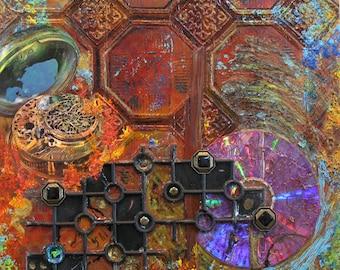 Time Passage I:  original mixed media collage