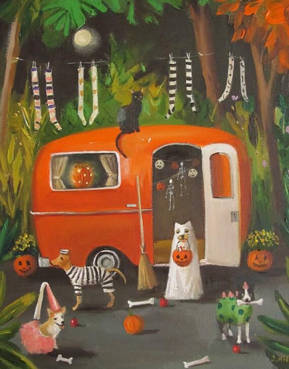 The Dogs of Halloween. Art Print.
