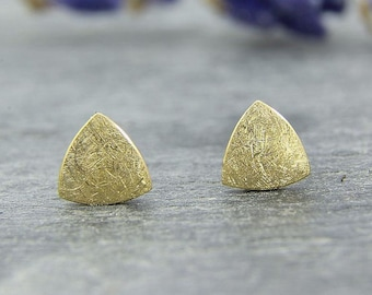 Earrings Silver 925 /-, gold-plated, mini triangle Matt scratched
