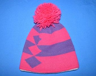90s Pink Purple Diamonds Stripes Bobble Winter Hat