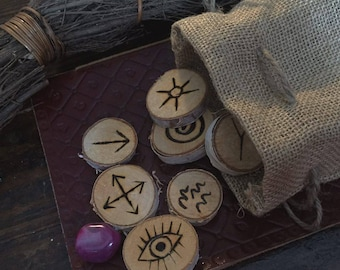 SALE: Hand-burned wooden witches runes