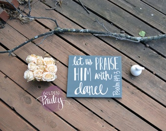 Dance Bible Verse Wall Art Canvas Painting Wall Hanging Scripture Typographical Quote Custom Color Canvas Painting Psalm Dance Recital Gift