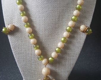 Vintage Green and Cream Tassel Bead Necklace Earring Set
