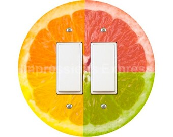 Funky Grapefruit Fruit Decora Double Rocker Switch Plate Cover