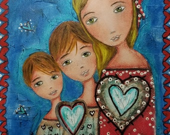 Un Solo Corazón - Mother and Two Sons - Giclee print mounted on Wood (4 x 5 inches) Folk Art  by FLOR LARIOS