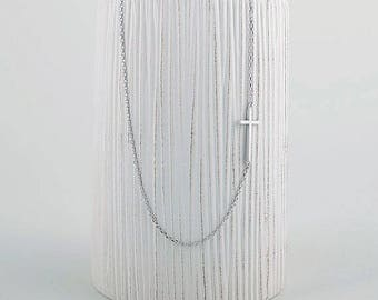 Sideways Cross Necklace religious christian Pendant  Minimalist