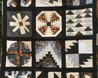 Handquilted Sampler Quilt - Lap Quilt or Child's Bed