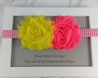Neon Headband, Elastic Headband, Baby Headband, Flower Headband, Baby Headband, Newborn Headband, Toddler Headband, Baby Gift, Shabby Flower