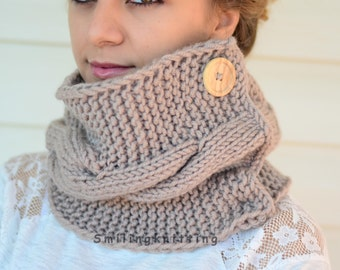Beige Scarf, Beige Knit Cowl, Hand Knit Cowl, Knit Scarf, Chunky Cowl, Christmas Gift, Neck Warmer, Wood Button, Gift For Her, Gift Under 30