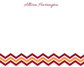 Personalized Maroon and Orange Chevron Stationery - 5x7 Note Cards
