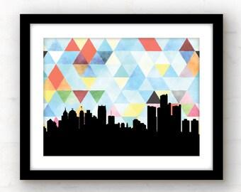 Detroit skyline print | Detroit art | Detroit, Michigan art | Michigan home | geometric wall art | Detroit print | Michigan print