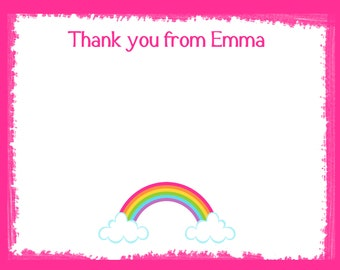 20 Personalized Thank You Cards  - Rainbow Thank You Cards - Rainbow Note Cards - Rainbow Birthday Party