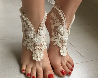 EXPRESS SHIPPING Cream Barefoot Sandals, Wedding sandals, Bridal  Shoes, Beach wedding, foot jewelry  Bridesmaid sandals, Anklets sandals