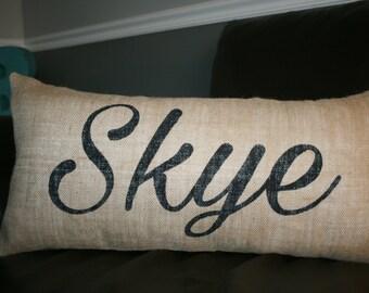 Burlap Pillow, Name Pillow, Decorative Pillow, 12x24 Lumbar Pillow, Personalized Pillow, Custom Pillow, Gift Pillow