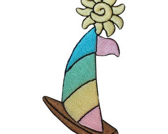 ID 1866 Rainbow Sailboat Patch Ship Nautical Sail Embroidered Iron On Applique
