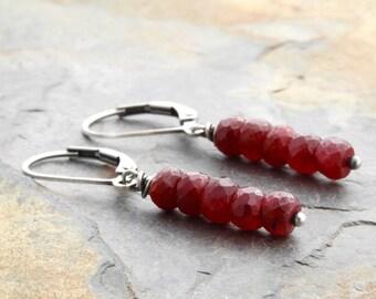 Ruby Earrings - July Birthstone Earrings - Sterling Silver - Drop Earrings - Ruby Red Gemstone Earrings - Ruby Gemstone - Lightweight  #4879