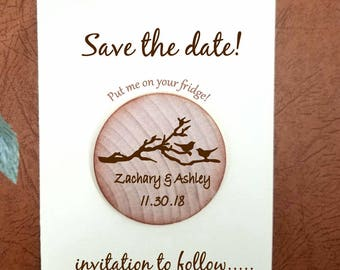 save the date magnets rustic birds in love cherry blossom -  Wood magnets Wedding Magnets Favor Custom Save the date  custom colors