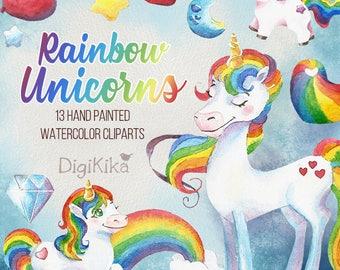 Unicorns Clipart, Hand Painted Watercolor - Rainbow Clip art, Unicorns Graphics