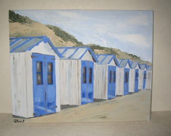 "Free shipping! Painting ""Beach huts"""